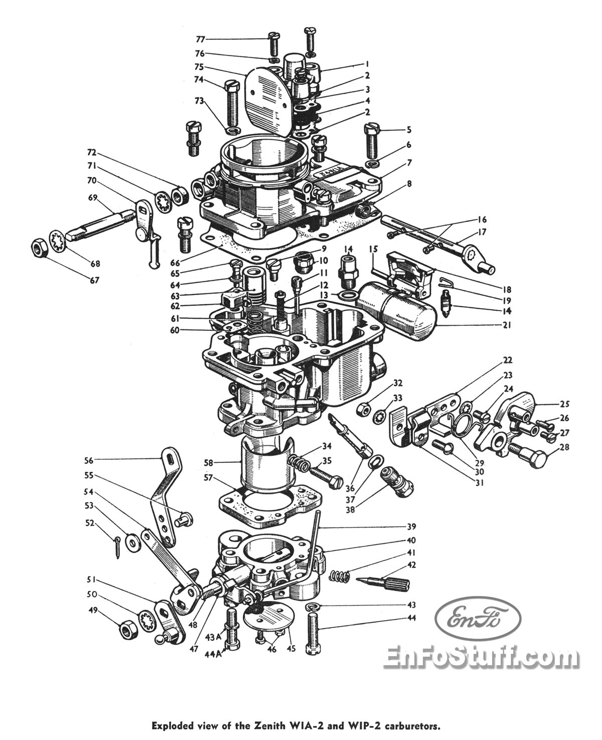 carburetor diagram zenith wia 2 and wip 2 consul mkii zodiac and rh enfostuff com Vintage Zenith Carburetors Zenith Carburetors for Tractors