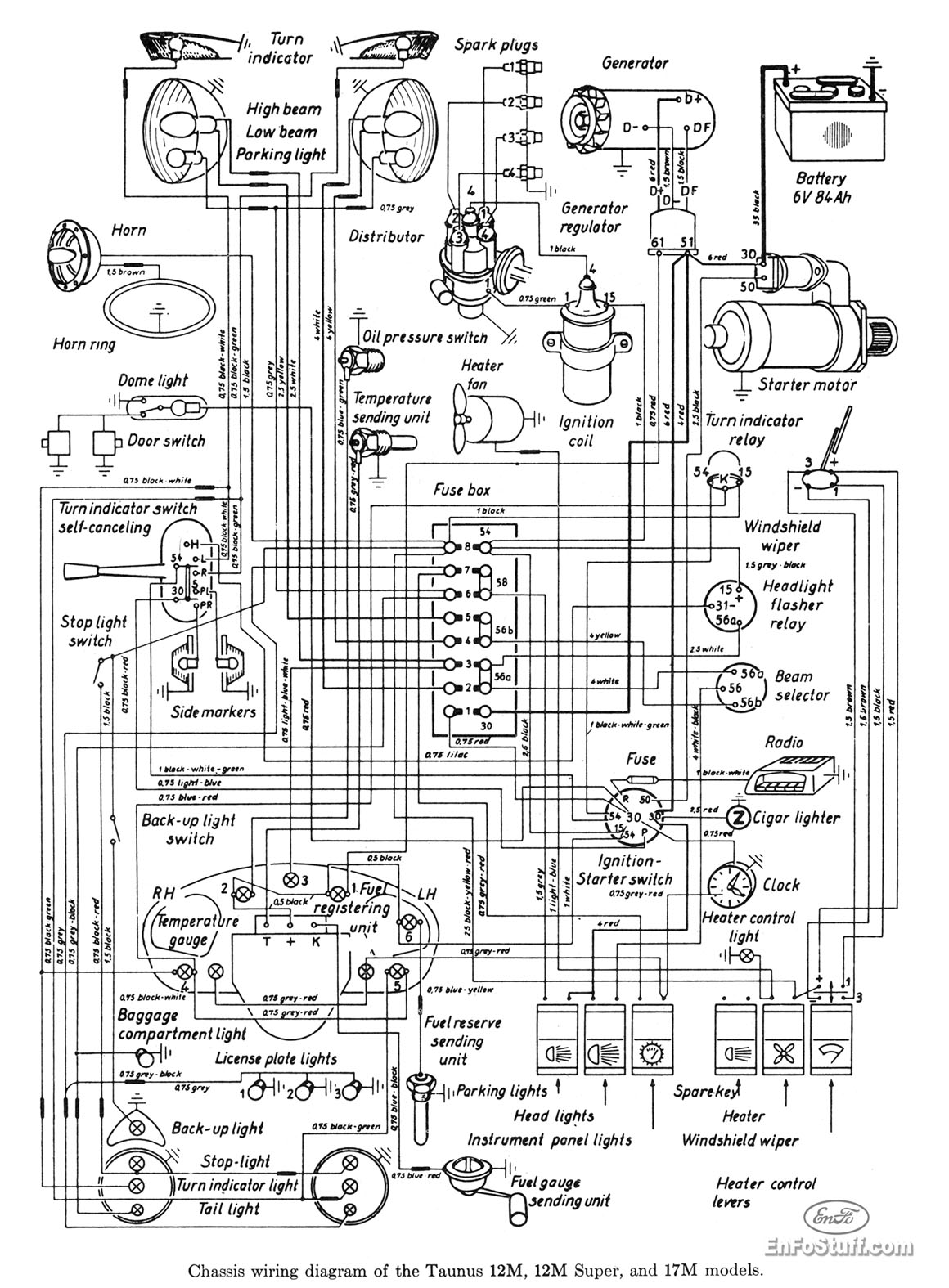 ford taunus 12m 17m wiring diagram wiring diagram for taunus 12m, 12m super, and 17m models 1955 ford wiring diagram at alyssarenee.co